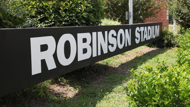 In this file photo, a sign of Eddie Robinson Stadium on the campus of Grambling State University.