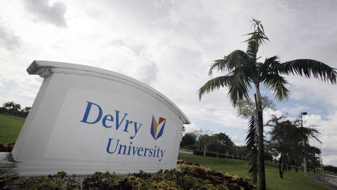 File photo taken in 2009 shows the entrance to the DeVry University campus  in Miramar, Fla.