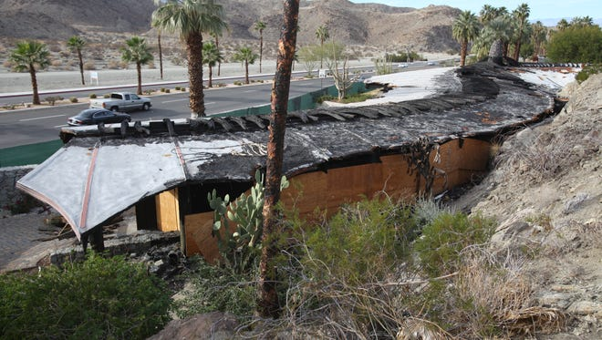 The burnt remains of the Chart House along HWY 111 in Rancho Mirage on Friday, December 21, 2012.