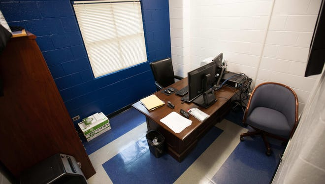 The office of prison security chief Fred Way at the Baylor Women's Correctional Institute. The prisoner who he admitted to having sex with in this office is suing him and the Delaware Department of Correction.