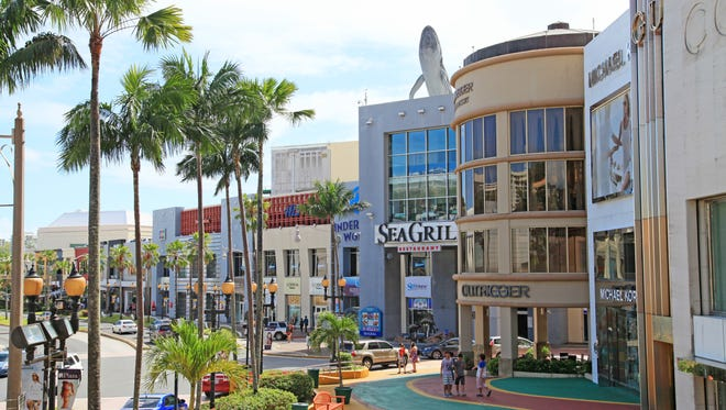 This undated file photo shows the Pleasure Island section of Tumon, Guam's main shopping destination for tourists.