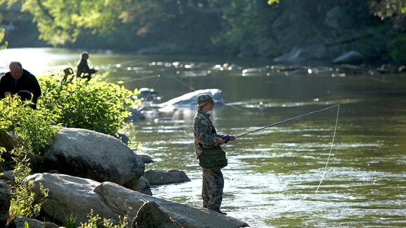 Anglers line the Rocky Broad River in Bat Cave in this file photo. The N.C. Wildlife Resource Commission will close about 1,000 miles of Hatchery Supported Trout Waters to fishing for month of March to stock streams.