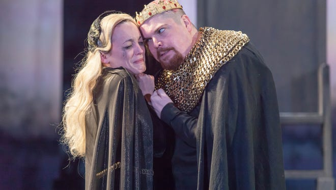 "Sara Clark as Queen Elizabeth and Billy Chace as Richard III in Cincinnati Shakespeare Company's production of ""Richard III,"" running through March 11 in CSC's theater at 719 Race St., Downtown."