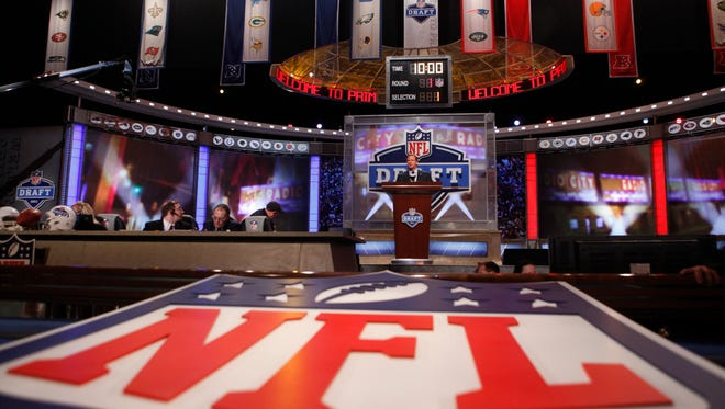 An NFL logo is shown before the first round of the NFL draft at Radio City Music Hall on April 28, 2011, in New York.