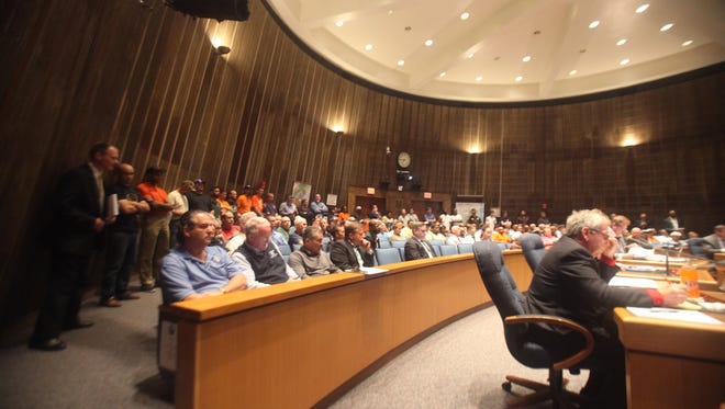 Union advocates pack New Castle County Council chambers at Tuesday's meeting.