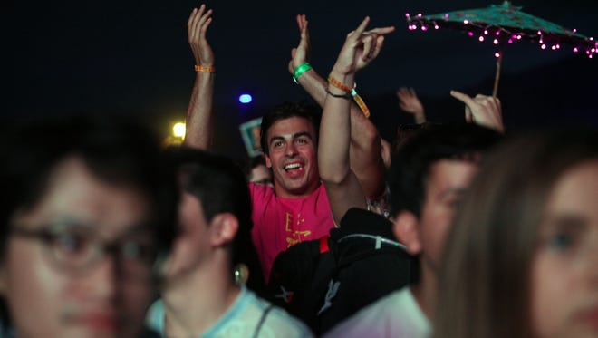 Apr 16, 2017; Indio, CA, USA; A rowdy Hans Zimmer fan at the Outdoor Theatre during the Coachella Valley Music and Arts Festival at Empire Polo Club. Mandatory Credit: Richard Lui/The Desert Sun via USA TODAY NETWORK