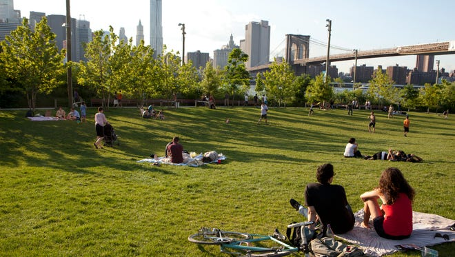 Brooklyn Bridge Park's Pier 1 has a large lawn with a view of the bridge.