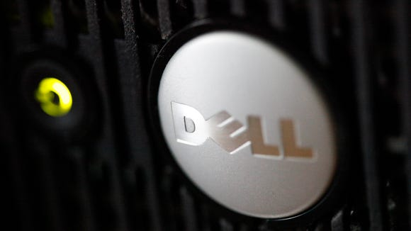 The logo on a Dell computer is displayed, in Philadelphia.