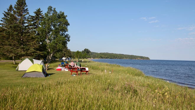 Campsites face Lake Superior at the Herbster Campground.