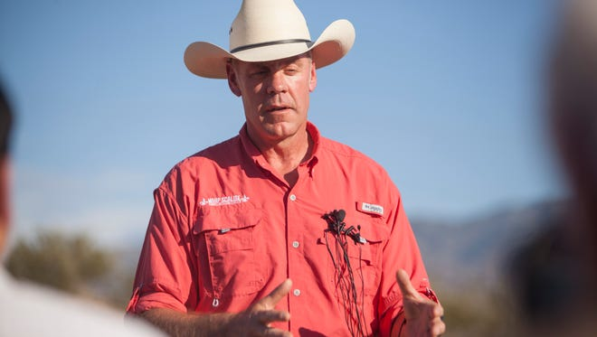 Secretary of the Interior Ryan Zinke visits Bunkerville, Nev. to discuss the future of Gold Butte and other local land issues Sunday, July 30, 2017.