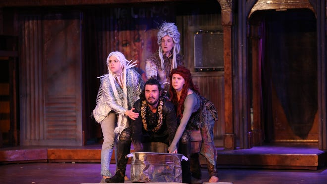 From left, Charlotte Mae Ellison, McKenna Kelly-Eiding, and Sasha Kostyrko play the witches, and Nate Cheeseman plays Macbeth for Montana Shakespeare in the Parks.