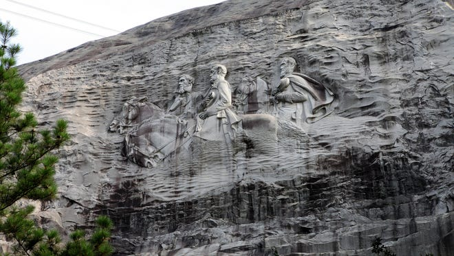 The Confederate Memorial at Stone Mountain, Ga., depicts three Confederate heroes of the Civil War, Jefferson Davis, Robert E. Lee and Stonewall Jackson.