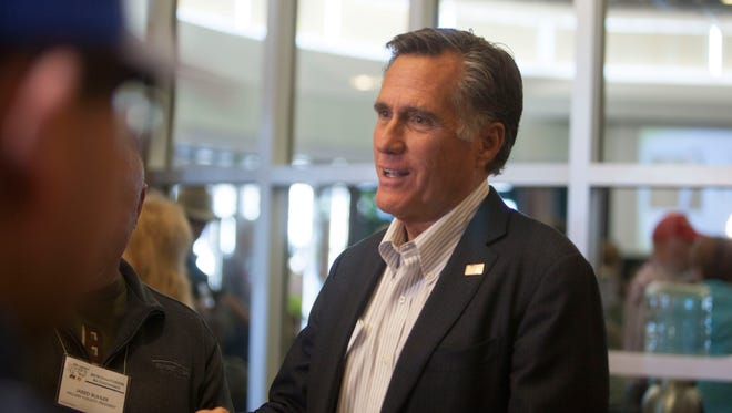Mitt Romney meets with members of the Utah Farm Bureau and Dairy Council at the Dixie Convention Center Friday, Jan. 26, 2018.