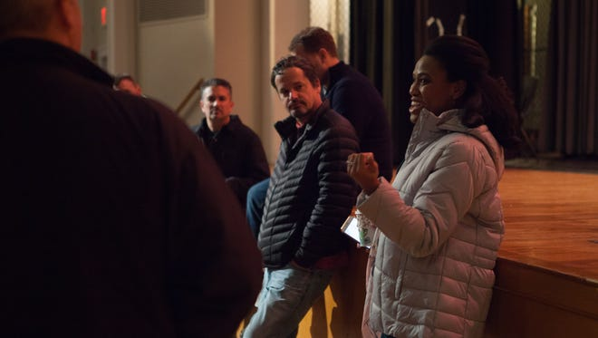 """Kevin Downes, center, on the set of """"I Can Only Imagine."""""""