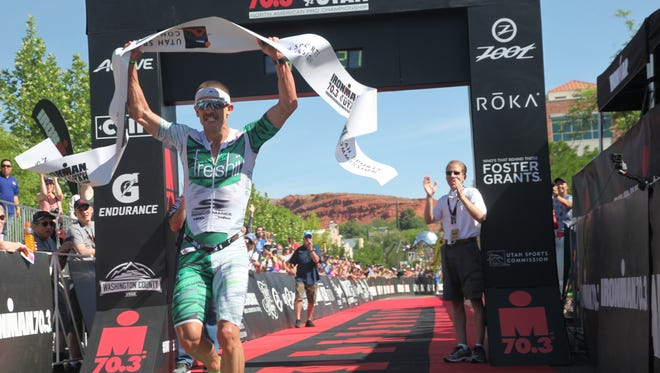 Lionel Sanders won the 2018 St. George Ironman Triathlon with a time of 3:41:11