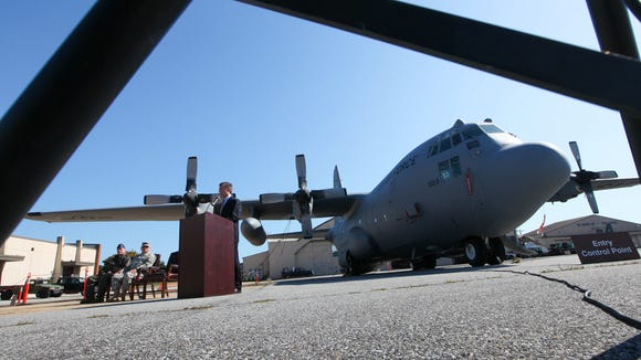 Rep. John Carney, D-Del., addresses members of the Delaware Air National Guard about his proposed legislation to modernize the unit's fleet of C-130H aircraft in New Castle Monday, Oct, 6, 2014.
