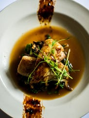 The Miso Gulf Fish, plated with a fish sauce caramel,