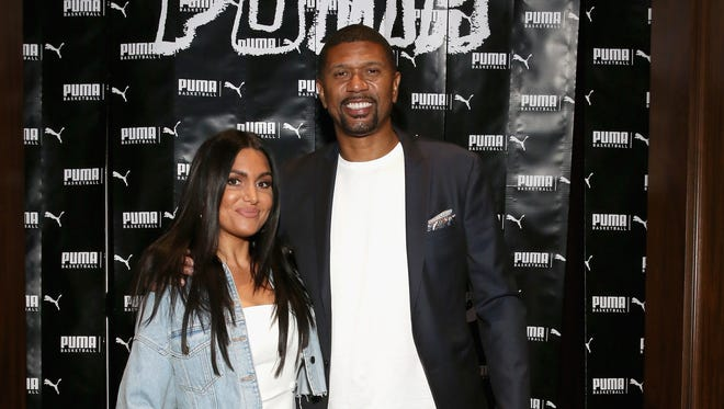 Molly Qerim and Jalen Rose attend the PUMA Basketball launch party at 40/40 Club on June 20, 2018 in New York City.