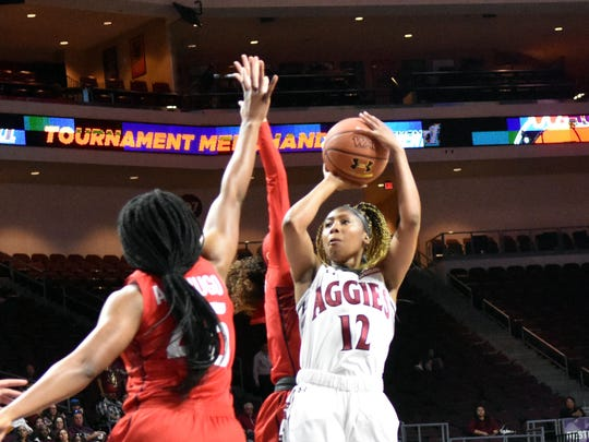 New Mexico State's Zaire Williams gets a clear view of the basket during the WAC Women's Basketball Championship Game on Saturday afternoon at Orleans Arena in Las Vegas, Nevada.