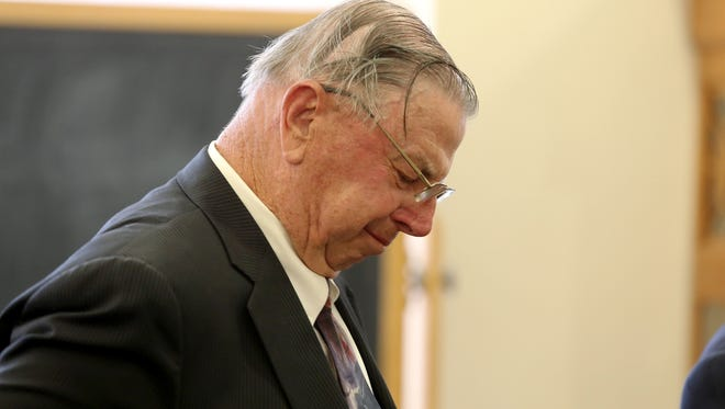 Henry Rayhons becomes emotional after the judge read the verdict of not guilty on Wednesday, April 22, 2015, at the Hancock County Courthouse in Garner, Iowa. Rayhons was tried for sexual abuse after allegedly engaging in sex acts with his wife, Donna, who was suffering with Alzheimer's disease.