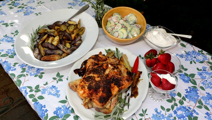 A summer farm-to-table menu includes roast chicken