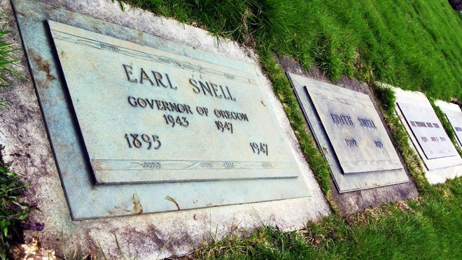 This headstone at Belcrest Memorial Park in Salem memorializes Gov. Earl Snell, who was killed in a plane crash in 1947.