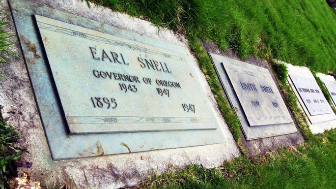 The late Gov. Earl Snell, who died in a 1947 plane crash on his way to Southern Oregon to hunt for duck and geese, is buried at Belcrest Memorial Park in South Salem.