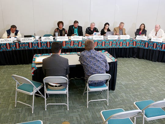The state Indian Affairs Committee listens to representatives from the Public Service Company of New Mexico and the San Juan Generating Station on Wednesday  at San Juan College.