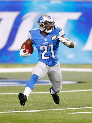 Ameer Abdullah of the Detroit Lions runs back a first quarter kickoff during the preseason game against the New York Jets on August 13, 2015 at Ford Field Detroit.