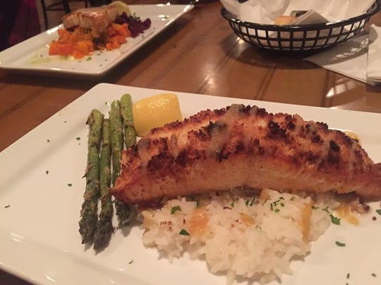Both seafood entrees - the salmon and the swordfish - were delicious at Feby's Fishery.