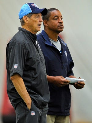 Titans assistant coaches Dick LeBeau, left, and Ray Horton talk during a practice at Saint Thomas Sports Park on June 2, 2015.