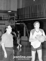 Lafayette Jeff coach Jim Hammel and 1985 Indiana Mr. Basketball Mark Jewell.
