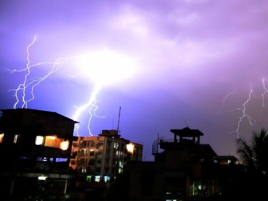 Lightning illuminates the night sky during a storm