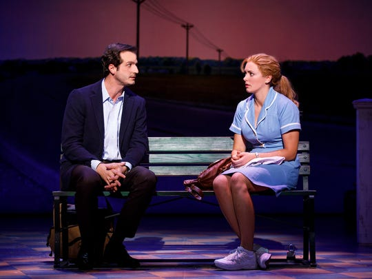 "Bryan Fenkart (left) and Desi Oakley share a scene in ""Waitress."""