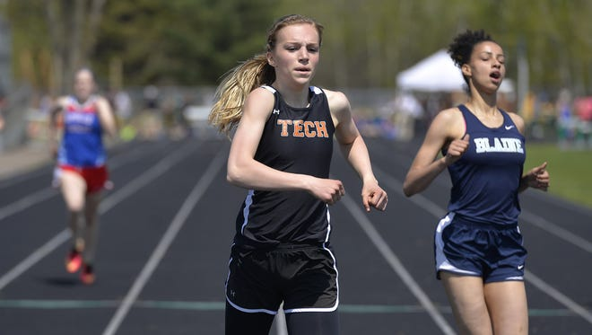 St. Cloud Tech's Jodi Lipp runs to first last season in Sauk Rapids. The Tech junior enters Friday state meet in St. Paul as the top seed in the triple jump.