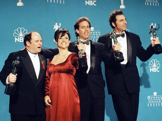 "In this Feb. 22, 1997 file photo, ""Seinfeld"" cast members"