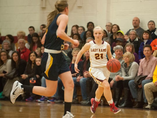Gloucester Catholic's Maggie McIntyre (right) dribbles against Gloucester's Jaqueline Myers (left) in a game earlier this season.