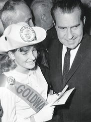Former Vice President Richard M. Nixon gives approving