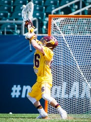 Salisbury University goalkeeper Colin Reymann (26) makes the final save for the national title against Tufts University in the NCAA Divison 3 Finals on Sunday, May 29 at Lincoln Financial Field in Philadelphia, PA.