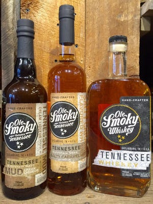 Ole Smoky Whiskey is on display at the former Davy Crockett Tennessee Whiskey distillery and store in Gatlinburg.