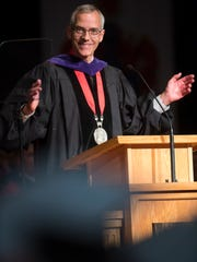Southern Utah University President Scott Wyatt congratulates graduating students in Commencement celebrations at the America First Event Center Friday, May 4, 2018.