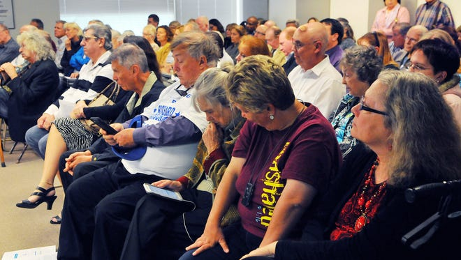 A crowd packs a 2016 gas tax and road maintenance workshop held at the Brevard County Government Center in Viera.