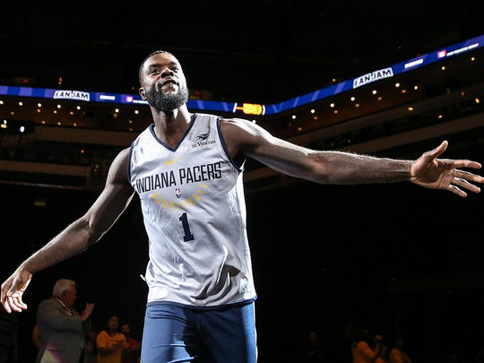 Indiana Pacers guard Lance Stephenson (1) takes the court for Indiana Pacers FanJam at Banker's Life Fieldhouse, Indianapolis, Sunday, Oct. 15, 2017.