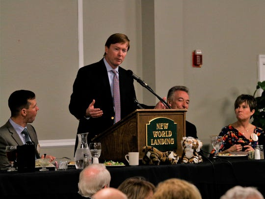 Adam Putnam speaks to the Tiger Bay Club at Skopelos at New World Landing in Pensacola on Wednesday, Jan. 31, 2018. Putnam is the Florida Agriculture Commissioner.