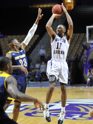 Haboubacar Mutombo scores two of his fifteen points on this short jumper in first half action against the Chattanooga Mocs on Saturday.