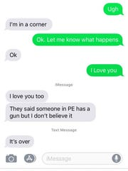 Text messages exchanged between a Desert Hot Springs High School student and his mother during Monday's lockdown. The mother shared the exchange with The Desert Sun.