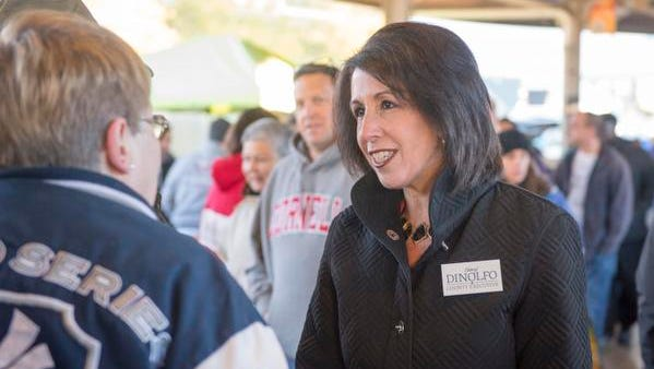 Republican Monroe County executive candidate Cheryl Dinolfo speaks with Diane Gowin of Greece at the Public Market.