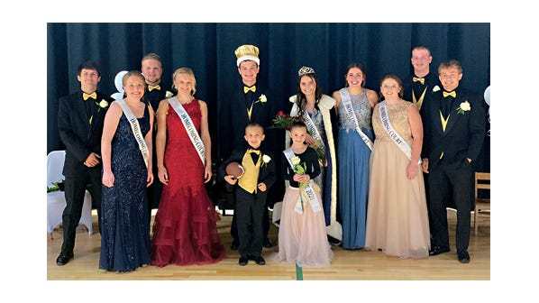 St. Mary's Royalty, from left: Caleb Schumacher, Emma Currans, Brad Balko, Sophia Portner, King Jacob Lux, Queen Sydney Windschitl, Emily Weiss, Megan Ahlness, Anthony Helget, and Spencer Hoffman, with Junior Attendants Jay Schultz and Berkley Brandl in front.