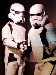 """Stormtroopers perform during a rehearsal for the Bootless Stageworks production of """"Star Wars: A New Musical Hope."""""""
