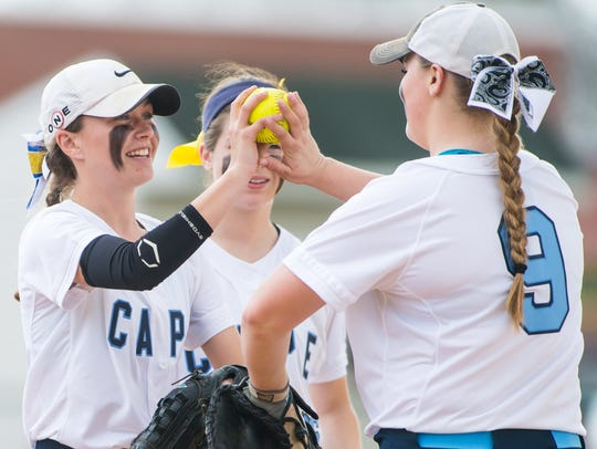 Cape Henlopen pitcher Riley Shields (19) celebrates